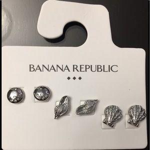 Banana Republic triple set silver toned cute studs